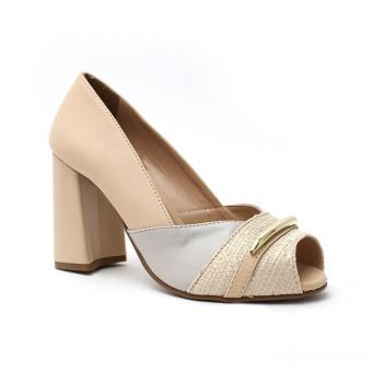 1061 Peep Toe C/ Metal Nude/ Off White - Código 2807-3-179