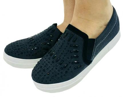 1000 Slip On Oxford Preto/ Hot Fix Preto - Código 2469-4-2